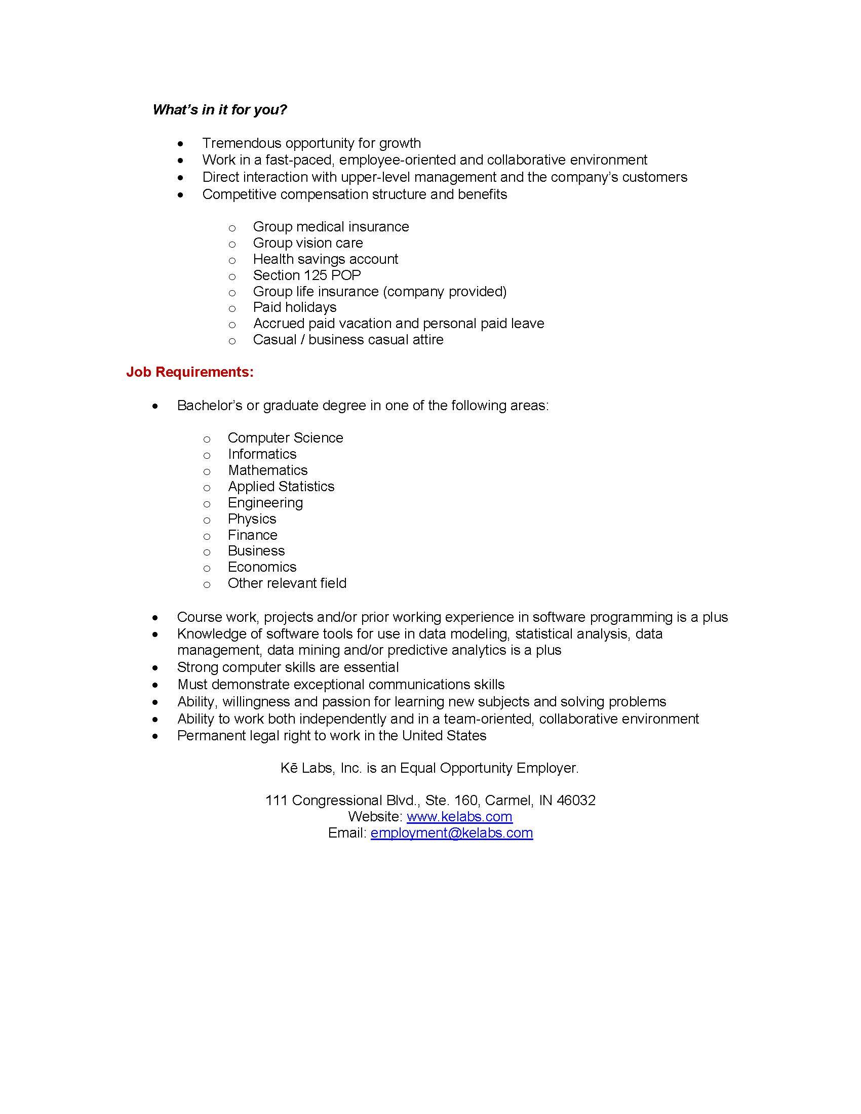 Ke Labs Inc (Job Description U2013 Knowledge Engineer) (IU Informatics Spr  _Page_2 | Department Of Economics At Indiana University Bloomington