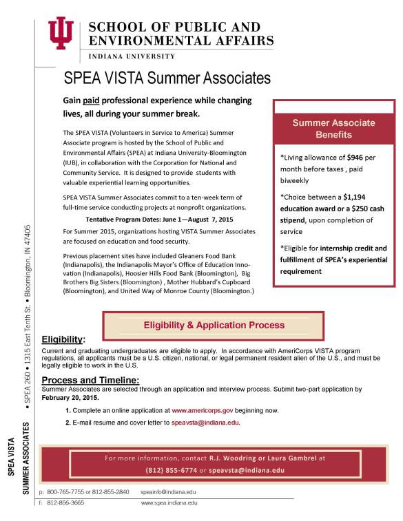 2015 Summer Associates Flyer Updated